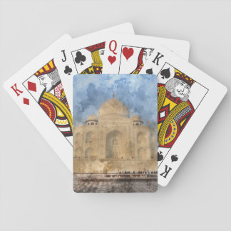 Taj Mahal in Agra India - Digital Art Watercolor Playing Cards