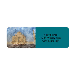 Taj Mahal in Agra India - Digital Art Watercolor Return Address Label