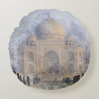 Taj Mahal in Agra India - Digital Art Watercolor Round Pillow