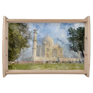Taj Mahal in Agra India - Digital Art Watercolor Serving Tray