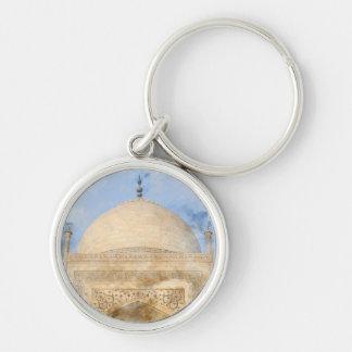Taj Mahal in Agra India - Digital Art Watercolor Silver-Colored Round Keychain