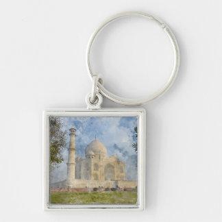 Taj Mahal in Agra India - Digital Art Watercolor Silver-Colored Square Keychain
