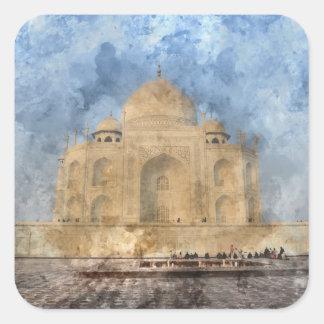 Taj Mahal in Agra India - Digital Art Watercolor Square Sticker