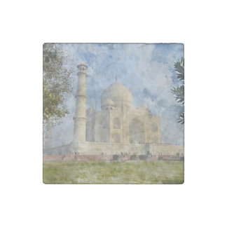Taj Mahal in Agra India - Digital Art Watercolor Stone Magnets