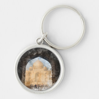 Taj Mahal in Agra India Silver-Colored Round Keychain