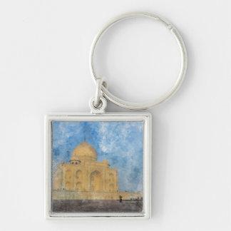 Taj Mahal in Agra India Silver-Colored Square Keychain