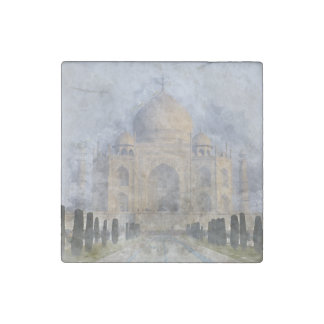 Taj Mahal in Agra India Stone Magnets