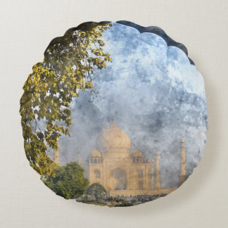 Taj Mahal in India Round Pillow
