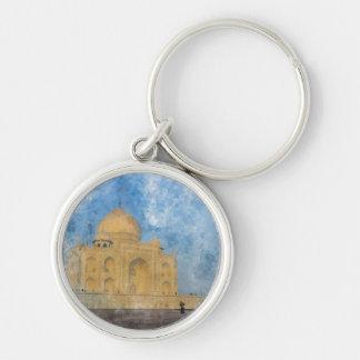 Taj Mahal in India Silver-Colored Round Keychain