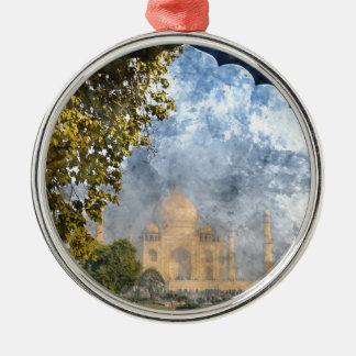 Taj Mahal in India Silver-Colored Round Ornament