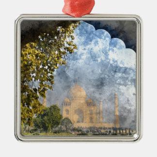 Taj Mahal in India Silver-Colored Square Ornament