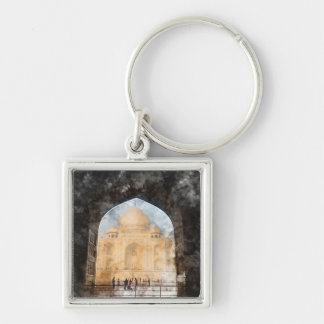 Taj Mahal in the Morning Silver-Colored Square Keychain
