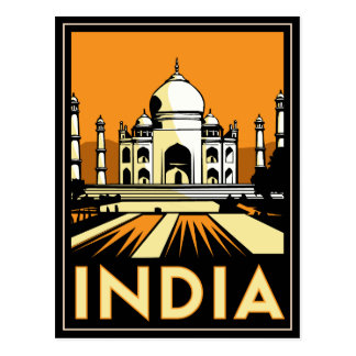 taj mahal india art deco retro poster postcard