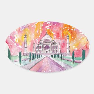 Taj Mahal India Oval Sticker
