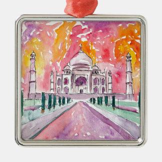Taj Mahal India Silver-Colored Square Ornament