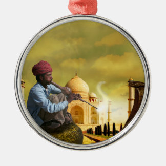 Taj Mahal Silver-Colored Round Ornament