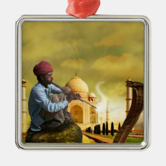 Taj Mahal Silver-Colored Square Ornament