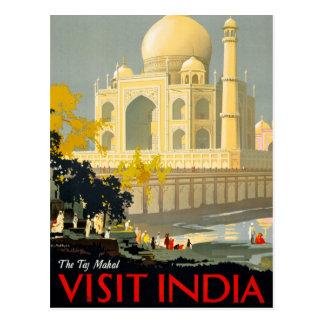 Taj Mahal Visit India Vintage Travel Poster Restor Postcard