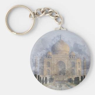 Taj Mahal Watercolor Basic Round Button Keychain