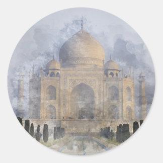 Taj Mahal Watercolor Round Sticker