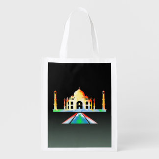 Taj Mahal Watercolour Painting Reusable Grocery Bag