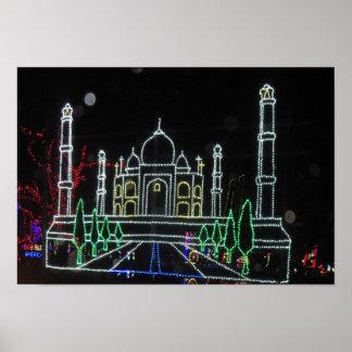 TAJ TAJMAHAL Christmas Diwali Art Sparkle Bulb fun Poster