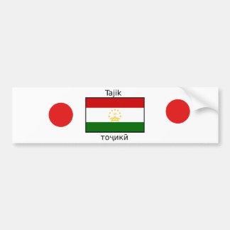 Tajik Language And Tajikistan Flag Design Bumper Sticker