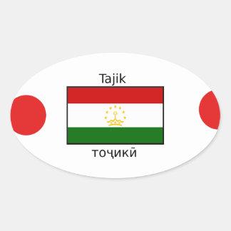 Tajik Language And Tajikistan Flag Design Oval Sticker