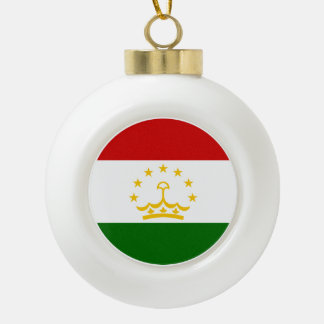 Tajikistan Flag Ceramic Ball Christmas Ornament