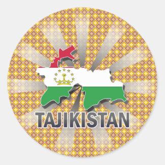 Tajikistan Flag Map 2.0 Classic Round Sticker