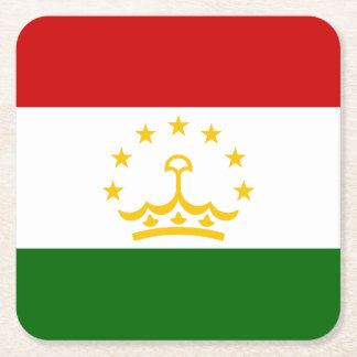 Tajikistan Flag Square Paper Coaster