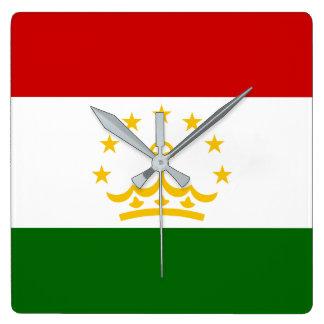 Tajikistan Flag Square Wall Clock