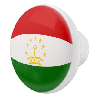 Tajikistan Tajikistani Red & White Flag Ceramic Knob