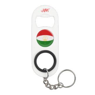 Tajikistan Tajikistani Red & White Flag Keychain Bottle Opener