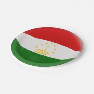 Tajikistan Tajikistani Red & White Flag Paper Plate