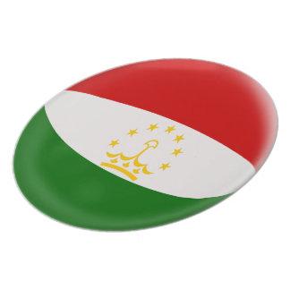 Tajikistan Tajikistani Red & White Flag Plate
