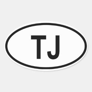 """Tajikistan """"TJ"""" Oval Sticker"""