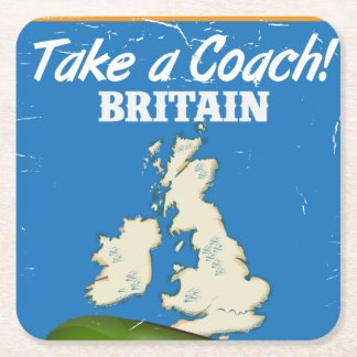 Take a Coach Britain vintage travel poster Square Paper Coaster