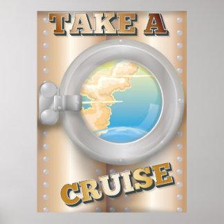 Take a Cruise cartoon travel poster