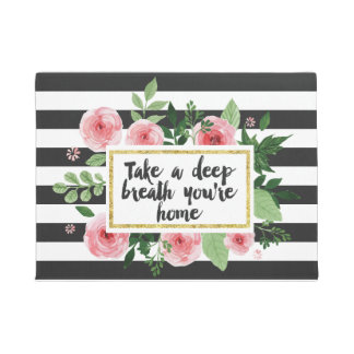 Take A Deep Breath You Are Home Watercolor Flowers Doormat