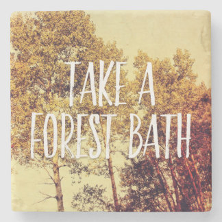 Take a Forest Bath Northern Birch Trees Art Stone Beverage Coaster