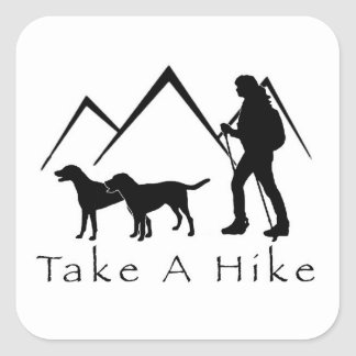 Take a Hike Sticker- Mutts Square Sticker