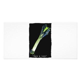 take a leek - dark personalized photo card