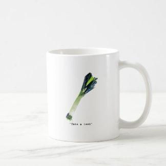 take a leek - light classic white coffee mug