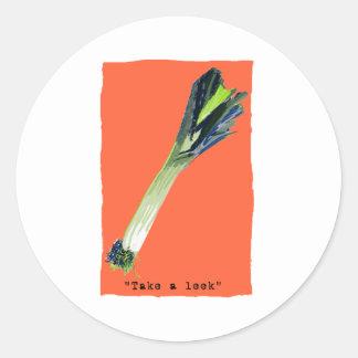 take a leek orange sticker