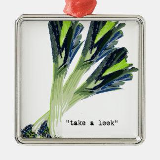 take a leek Silver-Colored square ornament