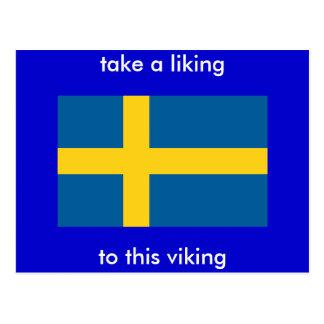 take a liking, to this viking postcard