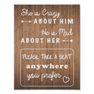 Take a seat wedding sign wood grain or black poster