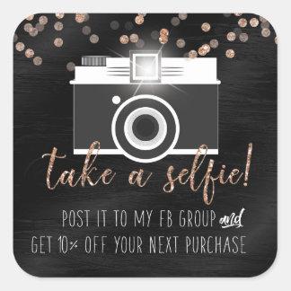 Take a Selfie Customer Loyalty Sticker Black Paint