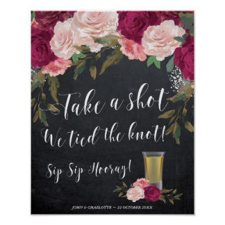 Take a shot we tied the knot wedding sign burgundy